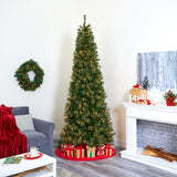 9' Cashmere Slim Artificial Christmas Tree with 550 Warm White Lights and 1308 Bendable Branches