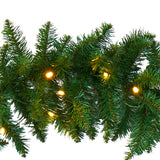 9' Christmas Pine Artificial Garland with 50 Warm White LEDs Lights
