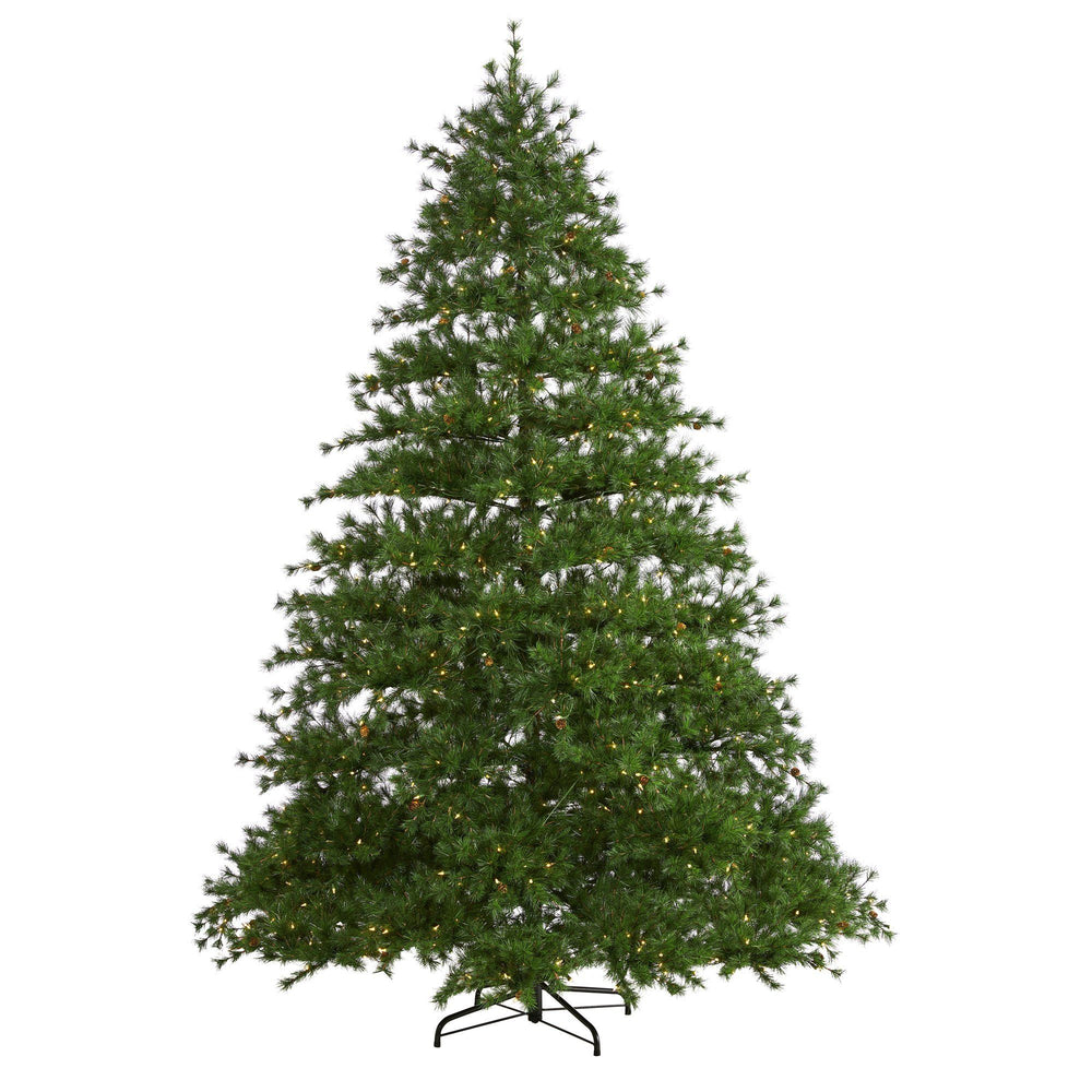9' Colorado Mountain Pine Artificial Christmas Tree with 650 Clear Lights, 3197 Bendable Branches and Pine Cones
