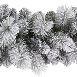 9' Flocked Christmas Artificial Garland with 180 Bendable Branches