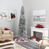 9' Flocked Pencil Artificial Christmas Tree with 600 Clear Lights and 896 Bendable Branches