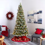 9' Frosted Swiss Pine Artificial Christmas Tree with 700 Clear LED Lights and Berries