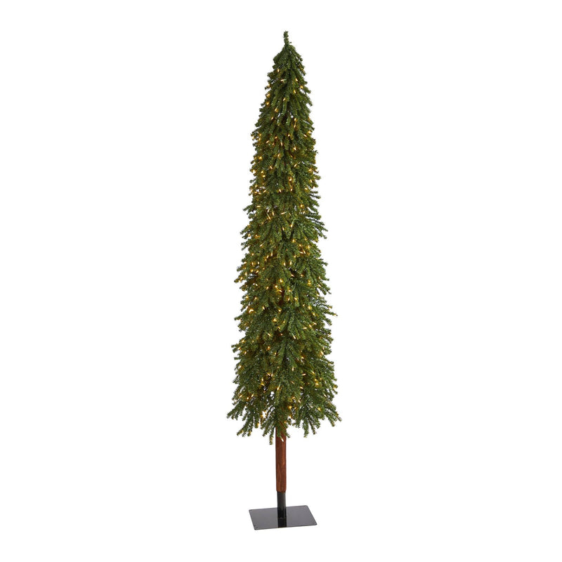 9' Grand Alpine Artificial Christmas Tree with 600 Clear Lights and 1183 Branches on Natural Trunk