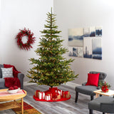 9' Layered Washington Spruce Artificial Christmas Tree with 750 Clear LED Lights and 2055 Bendable Branches
