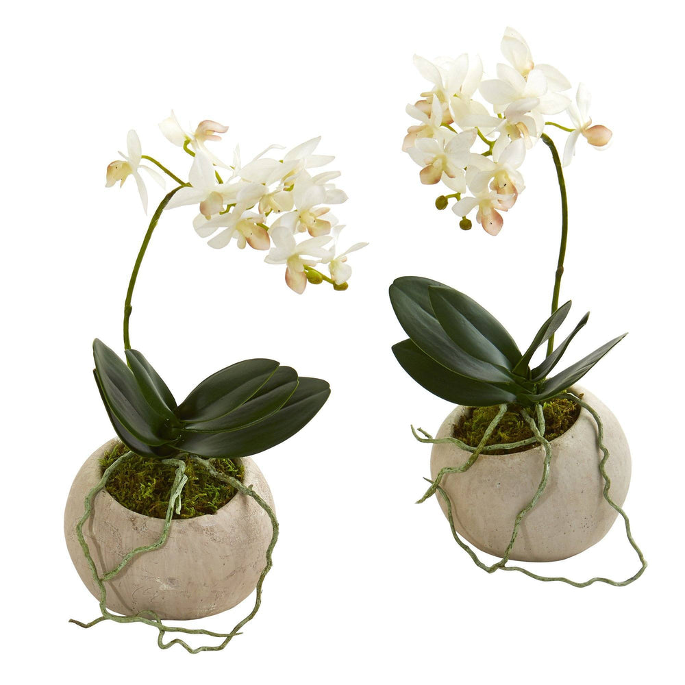 "9"" Mini Orchid Phalaenopsis Artificial Arrangement in Stone Vase (Set of 2)"