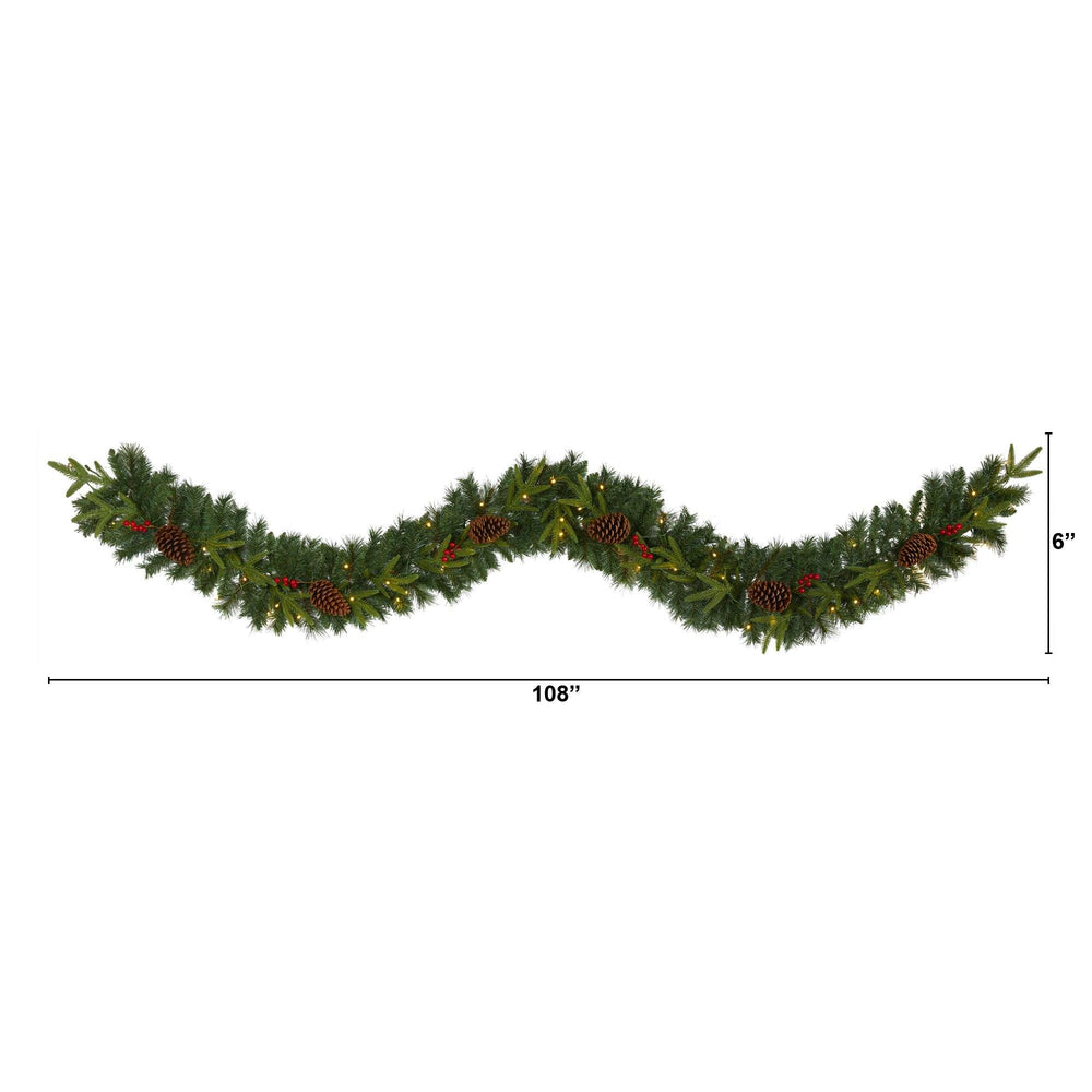 9' Mixed Pine Artificial Christmas Garland with 50 Clear LED Lights, Berries and Pinecones