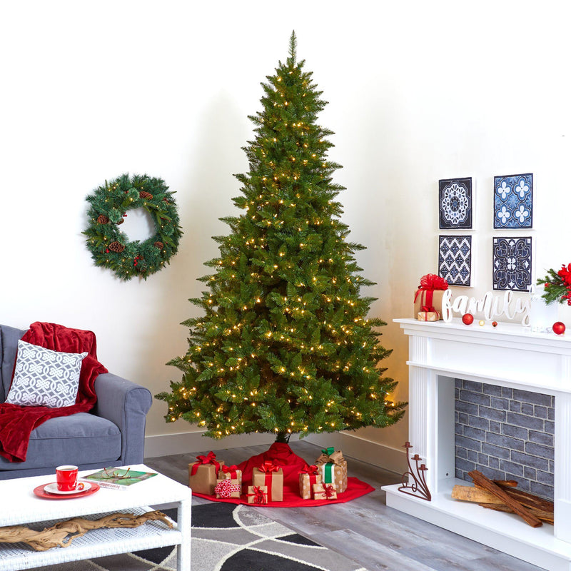 9' Vermont Spruce Artificial Christmas Tree with 850 Warm White (Multifunction) LED Lights with Instant Connect Technology and 1984 Bendable Branches