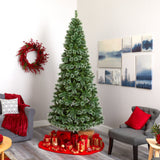 9' Wisconsin Slim Snow Tip Pine Artificial Christmas Tree with 800 Clear LED Lights