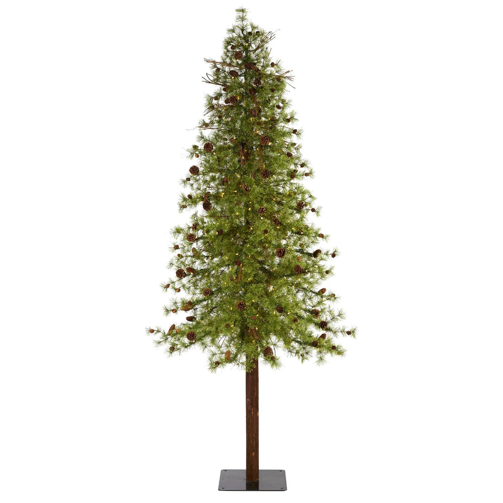 9' Wyoming Alpine Artificial Christmas Tree with 300 Clear (multifunction) LED Lights and Pine Cones on Natural Trunk