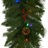 "9' x 12"" Hanging Icicle Artificial Christmas Garland with 50 Multicolored LED Lights, Berries and Pine Cones"