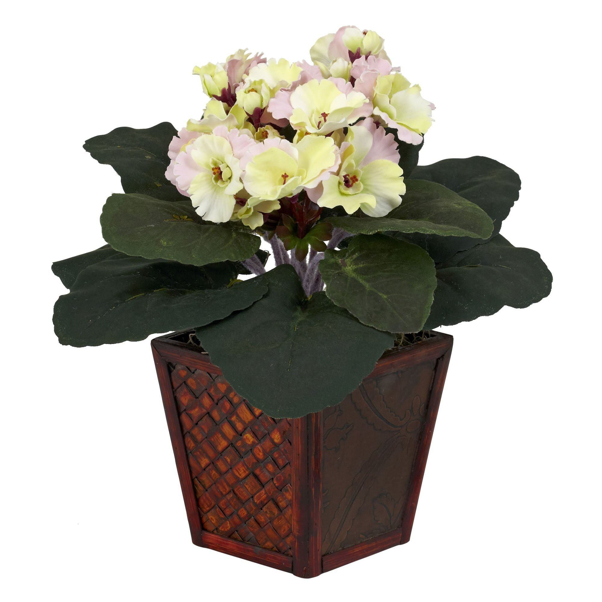 African Violet W Vase Silk Plant Set Of 2 Nearly Natural