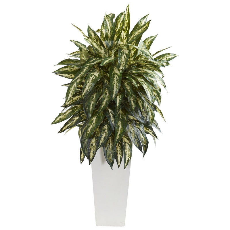 Aglonema Artificial Plant in White Planter