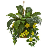 Birds Nest & Hibiscus Artificial Plant Hanging Basket