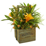 Bromeliad & Mixed Greens Artificial Arrangement in Planter