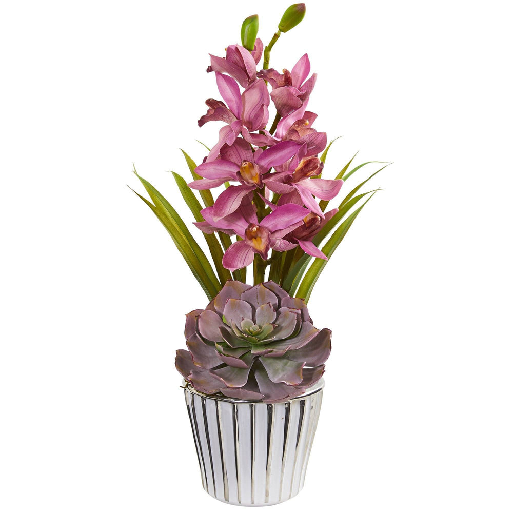 Cymbidium Orchid and Succulent Artificial Arrangement