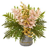 Cymbidium Orchid, Pomegranate and Fern Artificial Arrangement