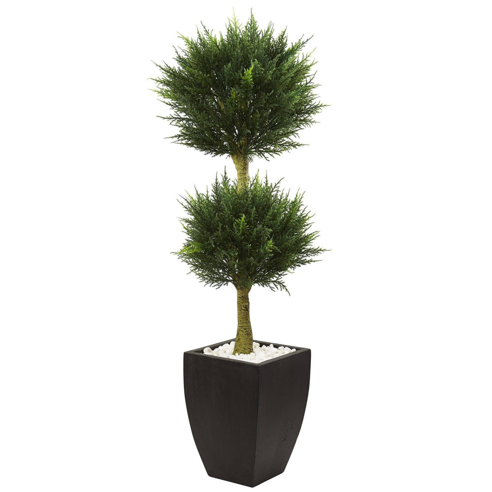 Cypress Topiary with Black Planter UV Resistant (Indoor/Outdoor)