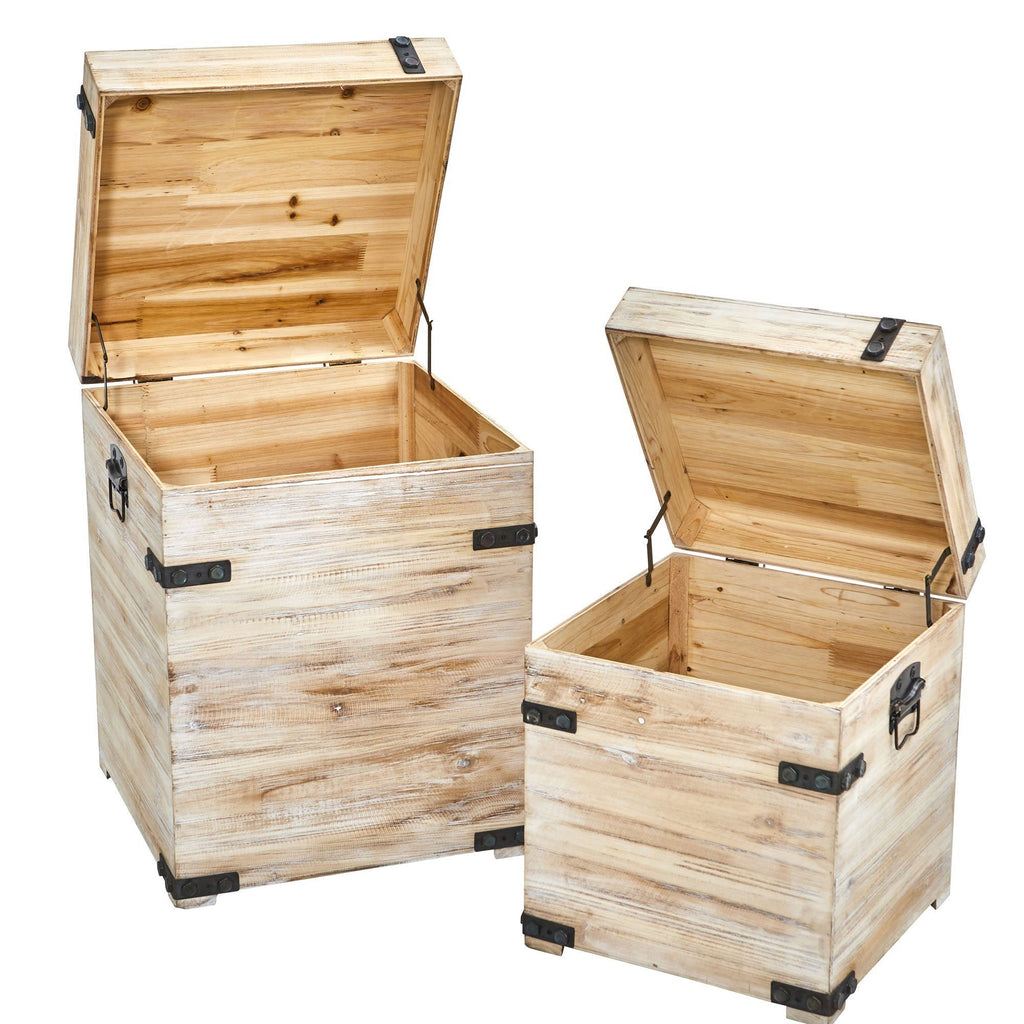 Picture of: Decorative White Wash Storage Boxes Trunks With Metal Detail Set Of 2 Nearly Natural