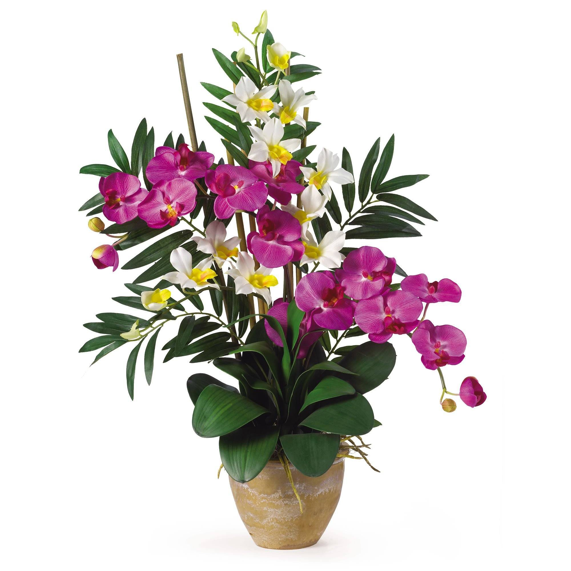 Nearly Naturalnearly Natural Double Phal Dendrobium Silk Artificial Flower Arrangement Orchid Cream Dailymail