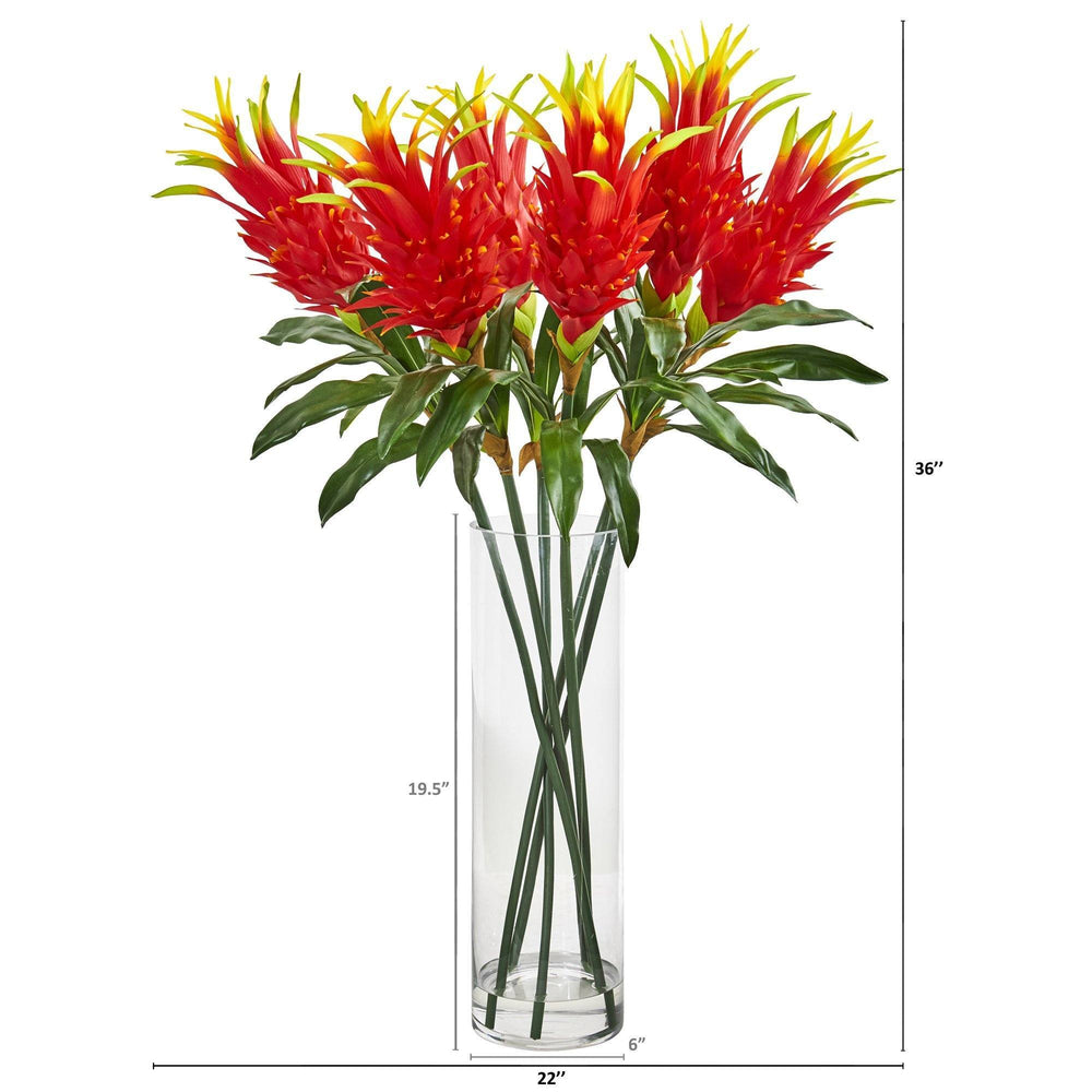 Dragon Fruit Flower Artificial Arrangement In Glass Vase Nearly Natural