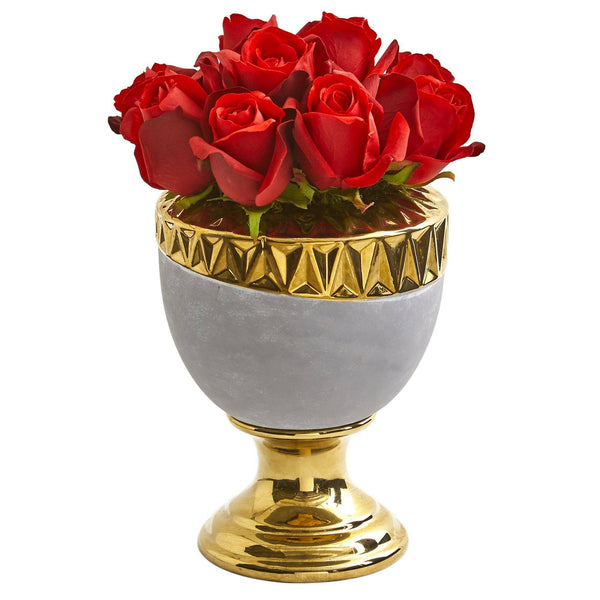 Elegant Red Rose Artificial Arrangement In Designer Urn Nearly Natural