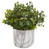 Eucalyptus Artificial Plant in Marble Finished Vase
