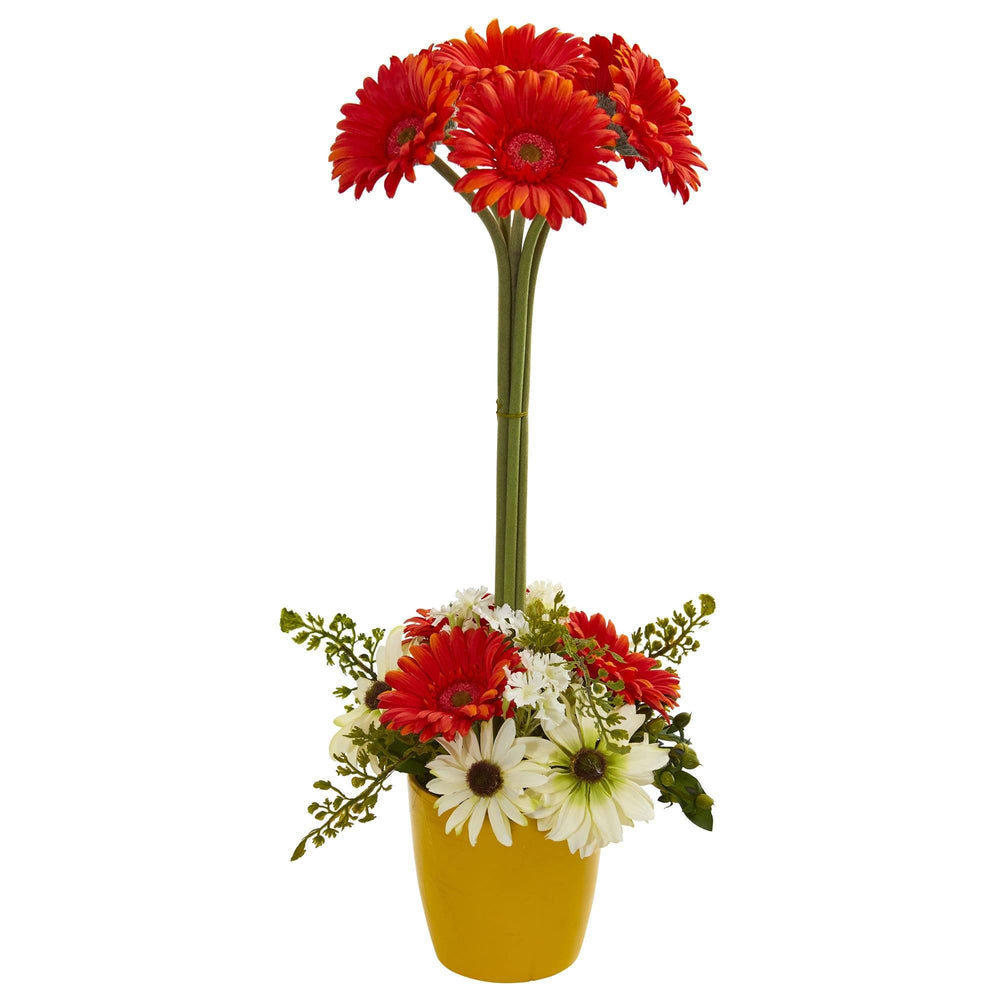Gerber Daisy Artificial Arrangement in Ceramic Vase