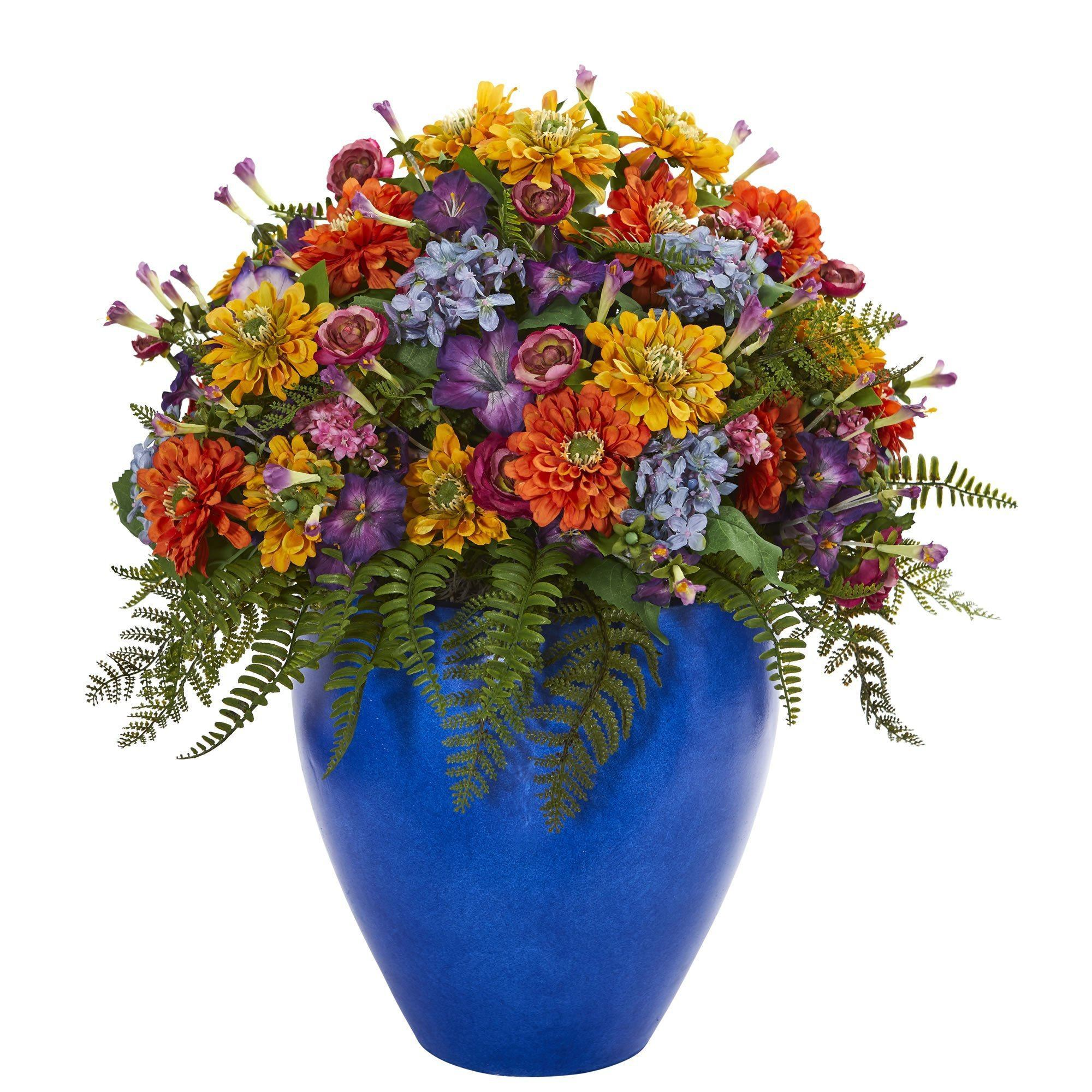 Giant Mixed Floral Artificial Arrangement In Blue Vase Nearly Natural