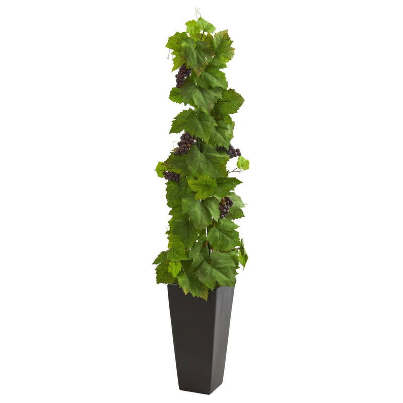 Grape Leaf Artificial Plant in Black Planter