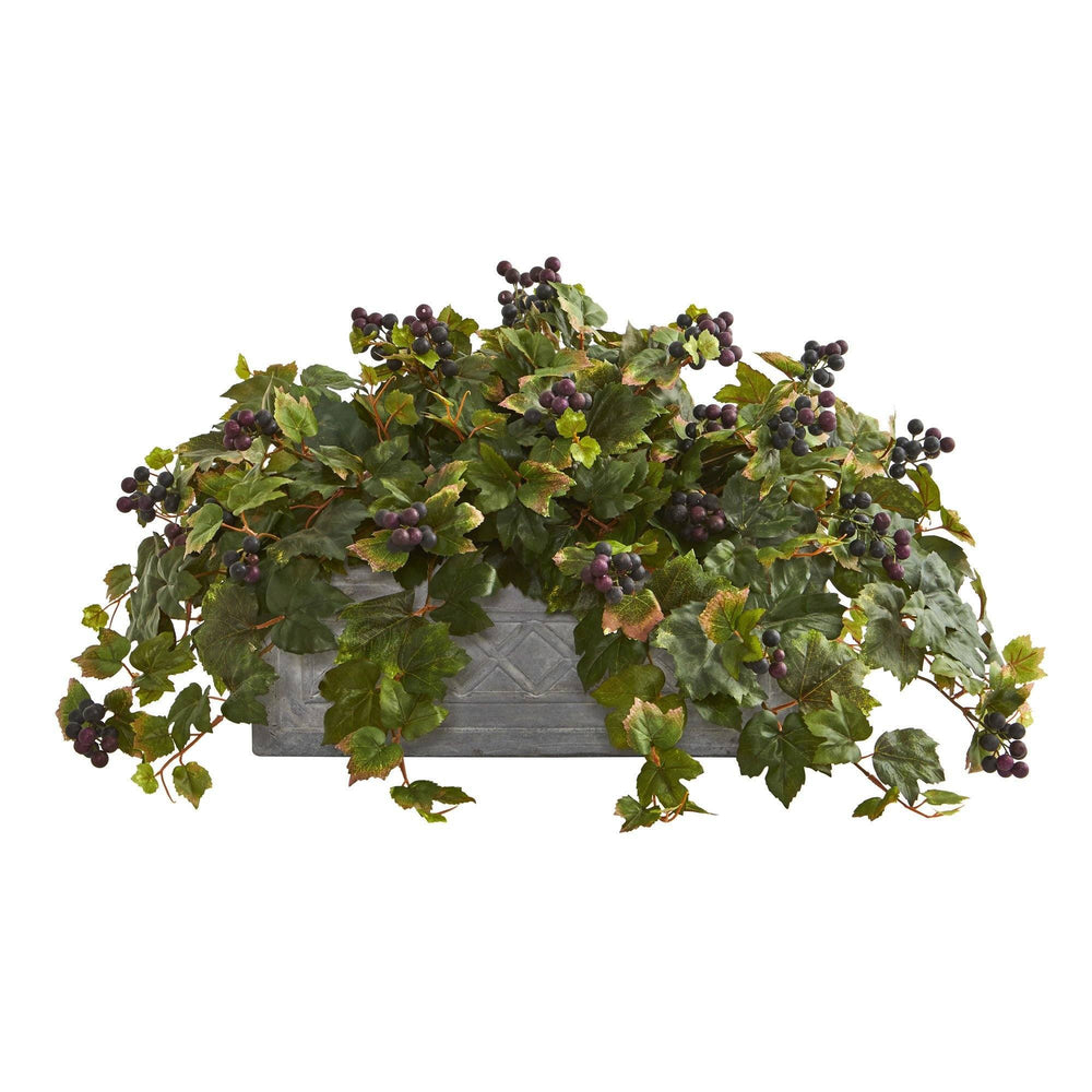Grape Leaf Artificial Plant in Stone Planter