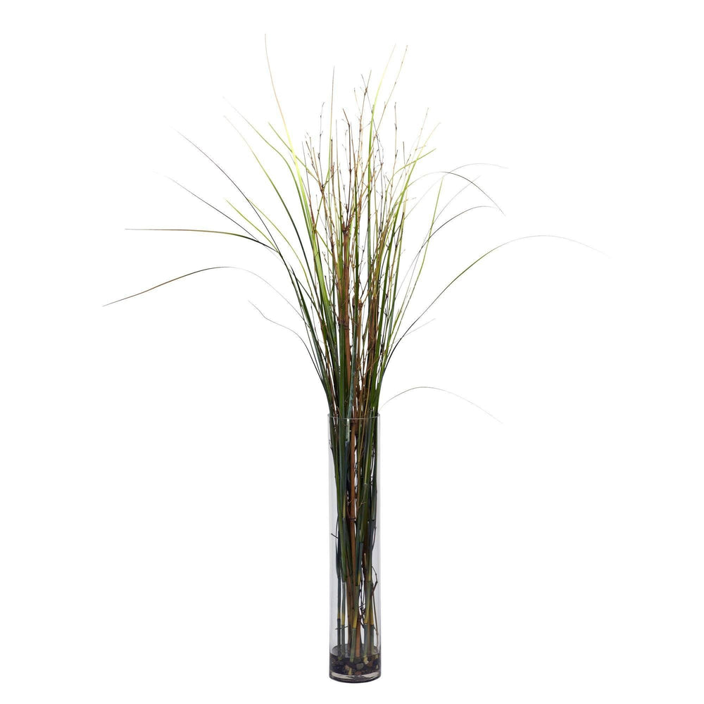 Grass & Bamboo w/Cylinder Silk Plant