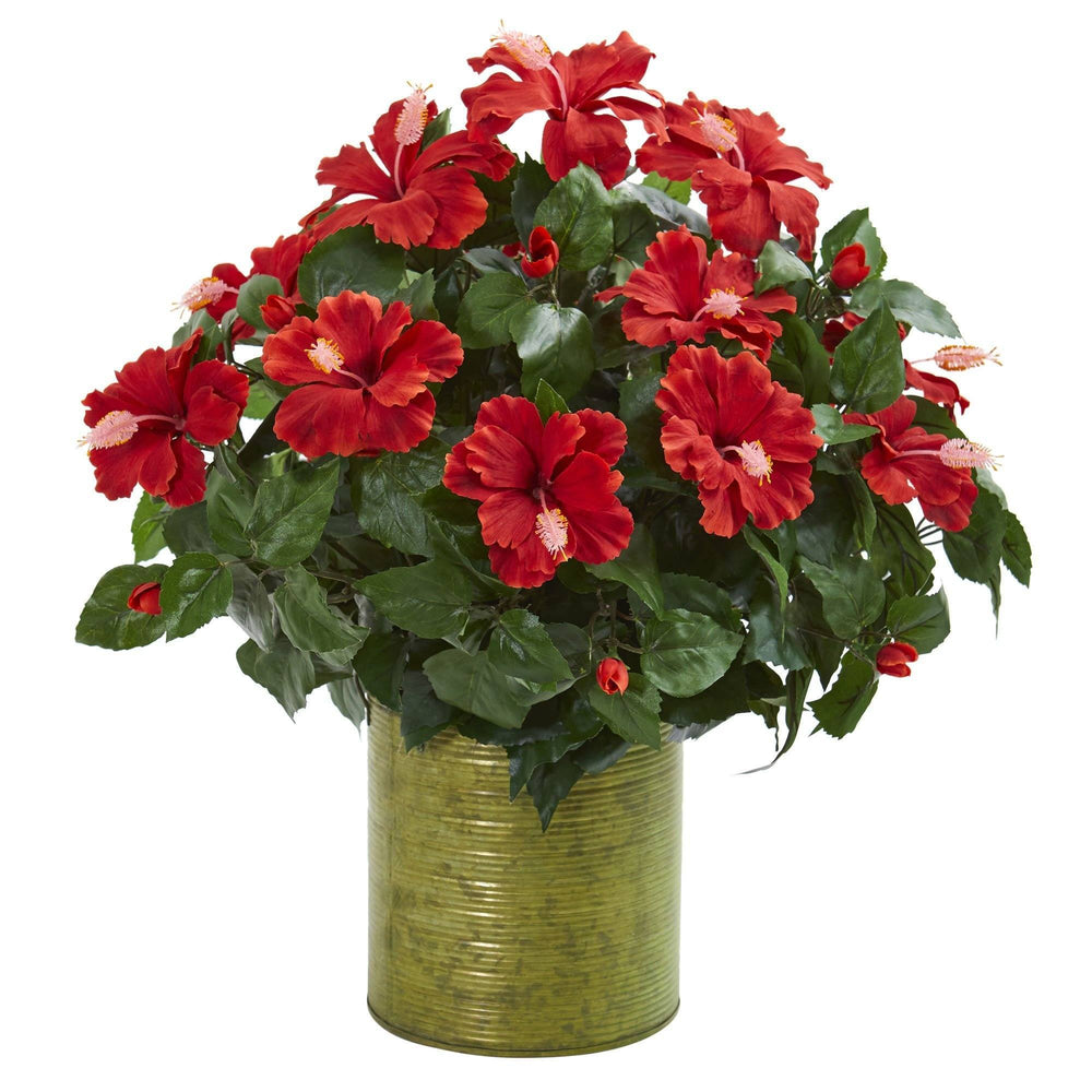Hibiscus Artificial Plant in Metal Planter