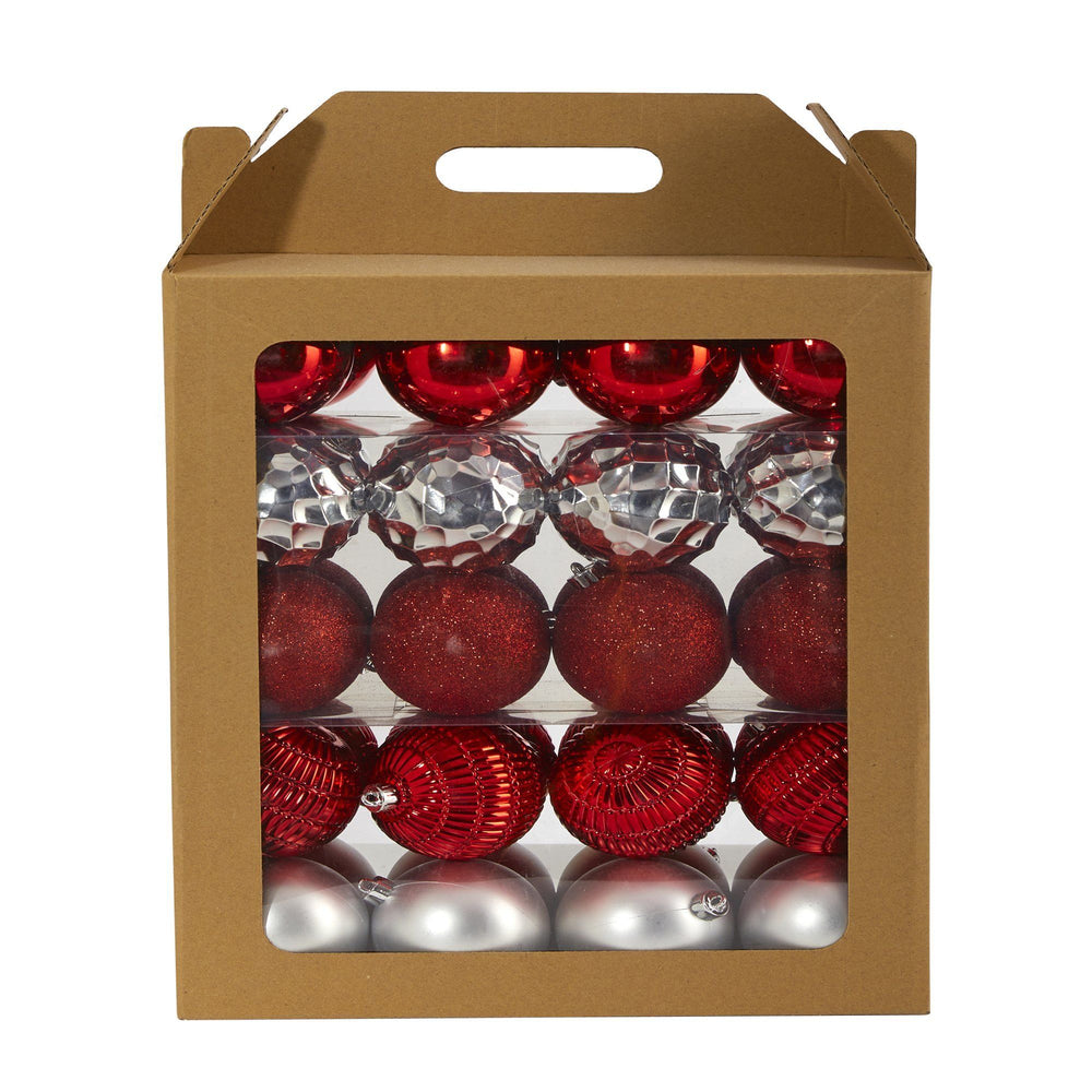 Holiday Shatterproof, 40 Count Christmas Tree Ornament Box Set, 80mm with Re-Useable Box