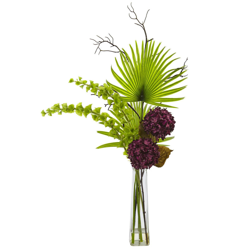 Hydrangea, Bells Of Ireland and Palm Frond Arrangement