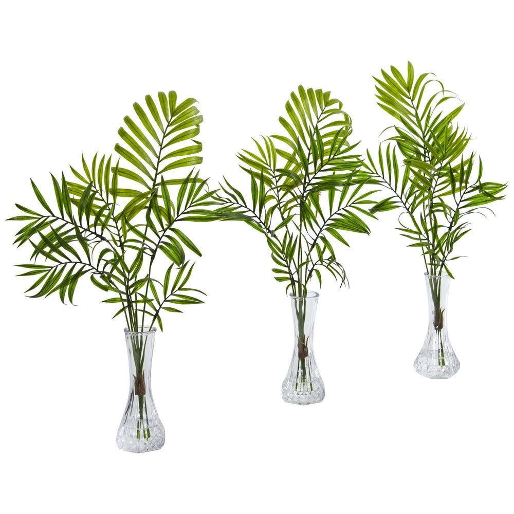 Mini Palm Artificial Plant in Vase (Set of 3)