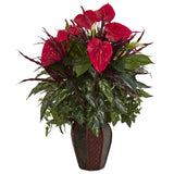 Mixed Anthurium Artificial Plant in Decorative Planter