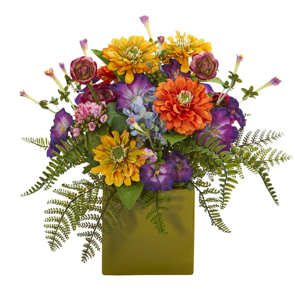 Mixed Floral Artificial Arrangement In Green Vase Nearly Natural
