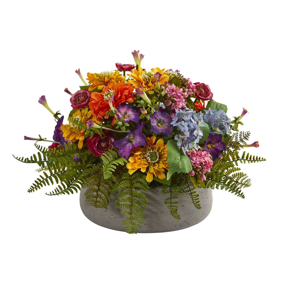 Mixed Floral Artificial Arrangement in Stone Planter