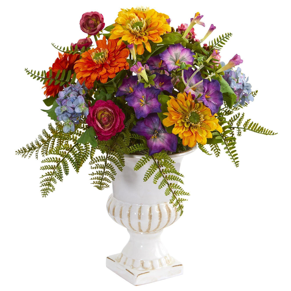 Mixed Floral Artificial Arrangement in Urn