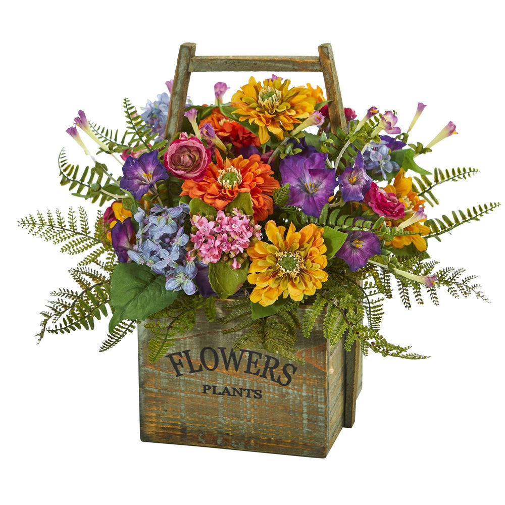 Mixed Floral Artificial Arrangement In Wood Basket Nearly Natural