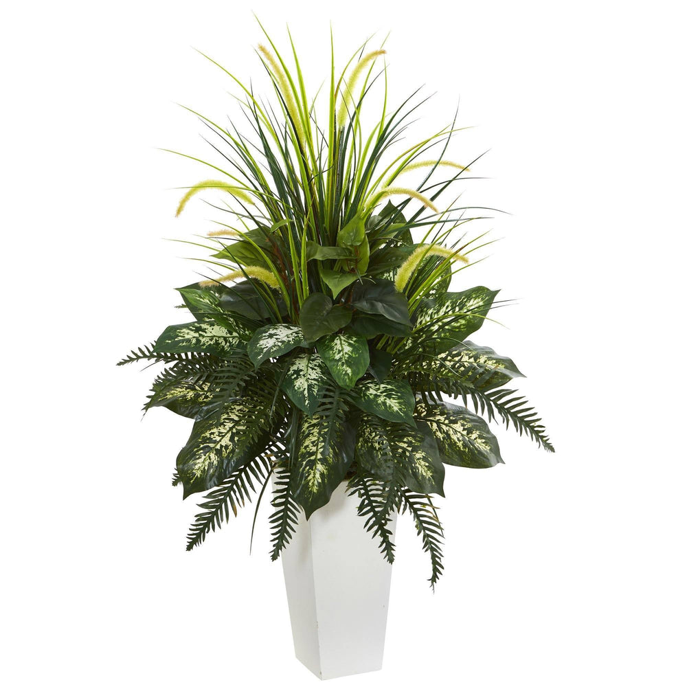 Mixed River Fern and Dogtail Artificial Plant in White Tower Planter