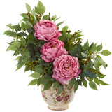 Peony and Mixed Greens Artificial Arrangement in Vase