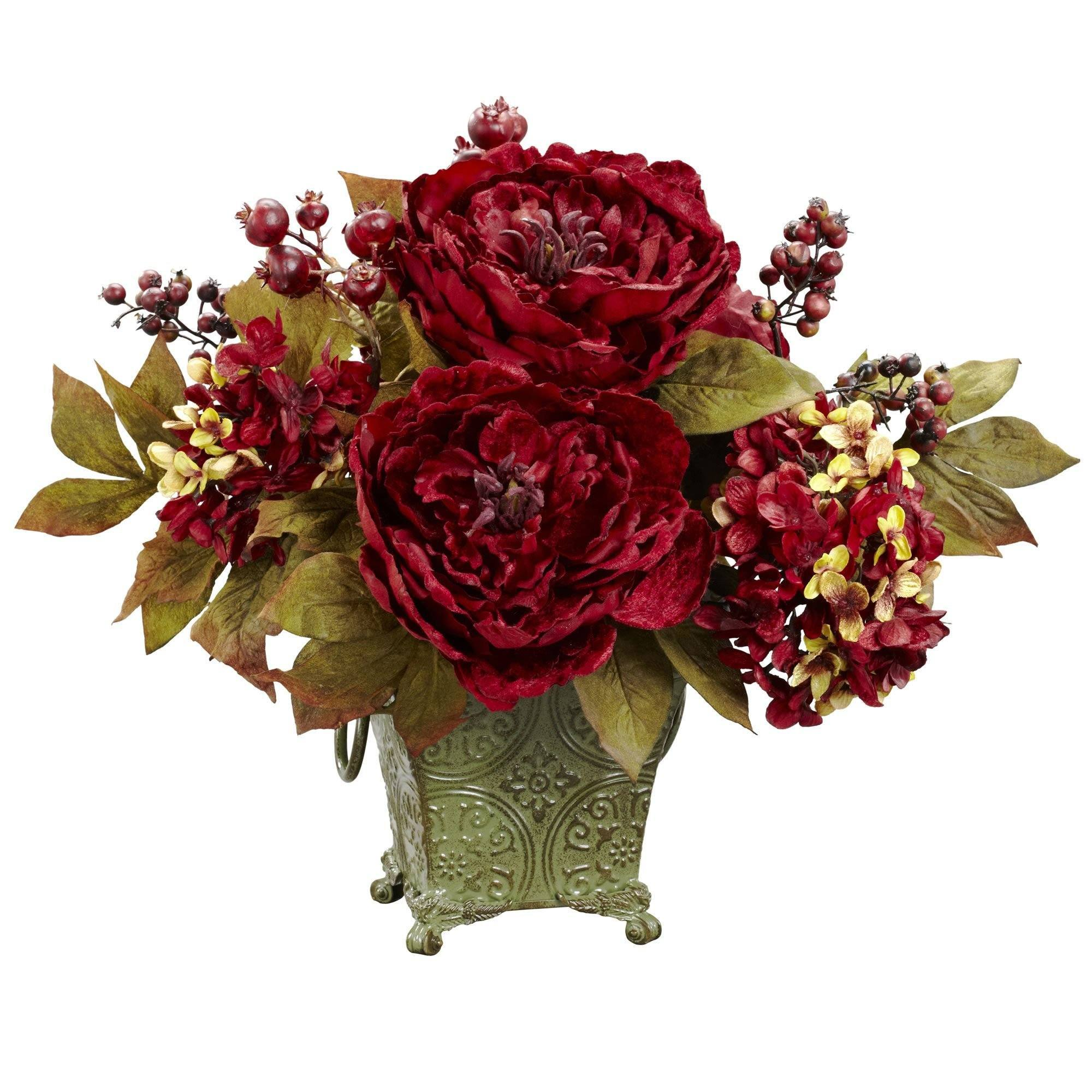 Peony Hydrangea Silk Flower Arrangement Nearly Natural