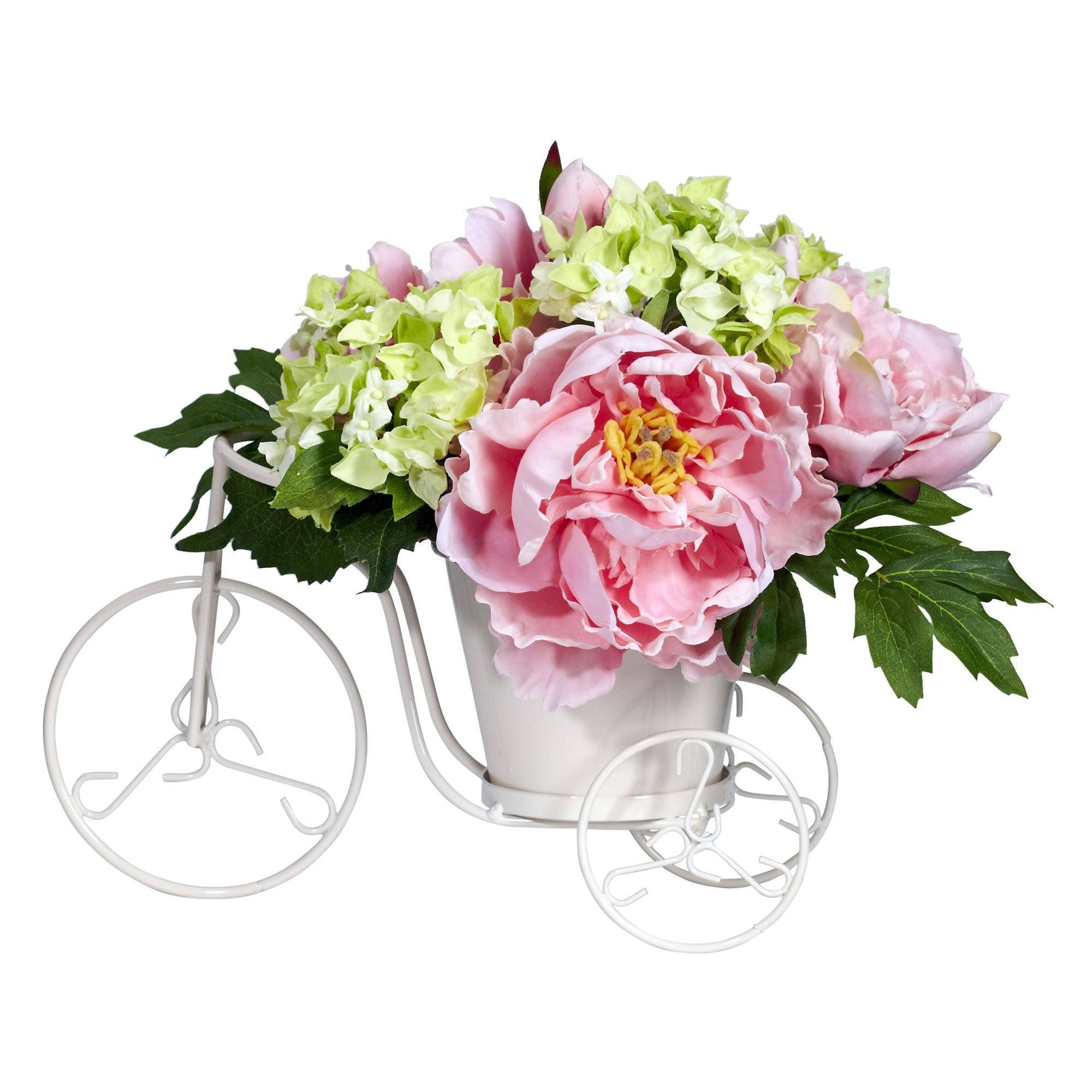 Peony Hydrangea Tricycle Silk Flower Arrangement Nearly Natural