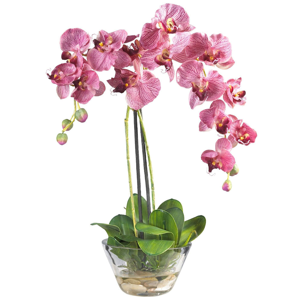 Phalaenopsis w/Glass Vase Silk Flower Arrangement