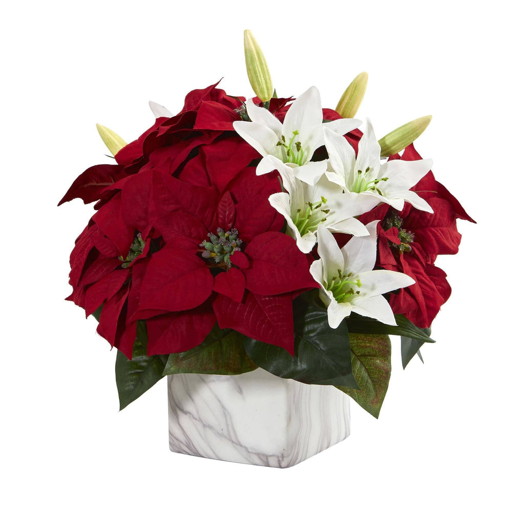 Poinsettia & Lily Artificial Arrangement in Marble Vase