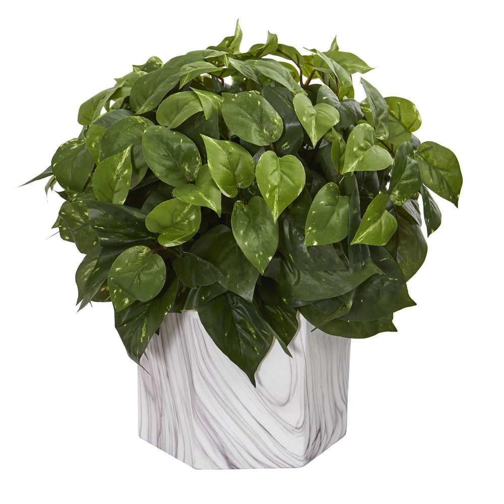 Pothos Artificial Plant in Marble Finished Vase
