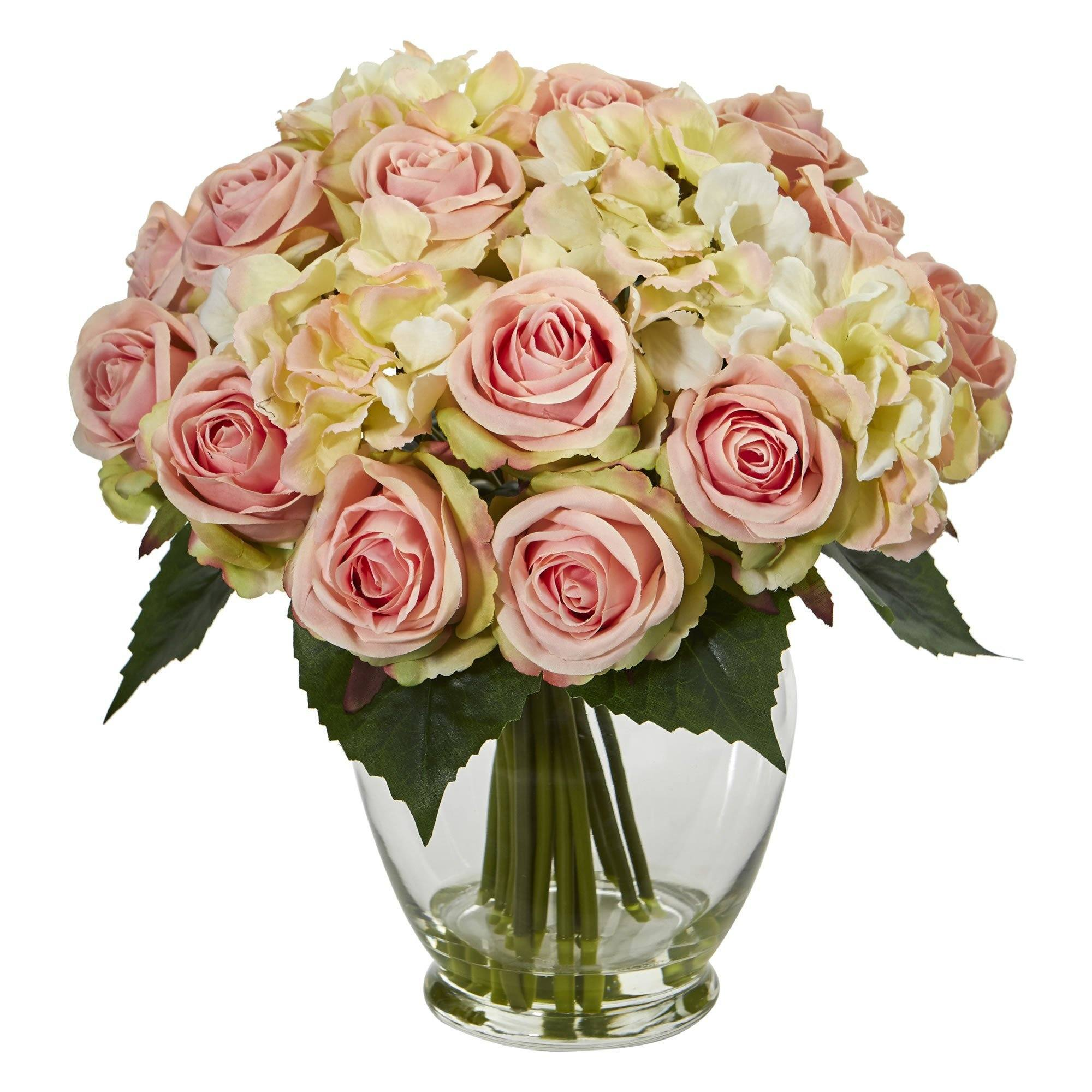 Rose And Hydrangea Bouquet Artificial Arrangement Nearly Natural