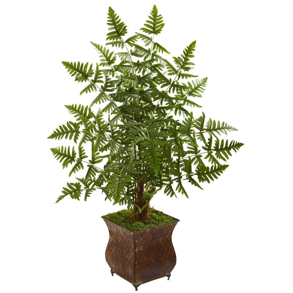 Ruffle Fern Artificial Palm Tree in Metal Planter