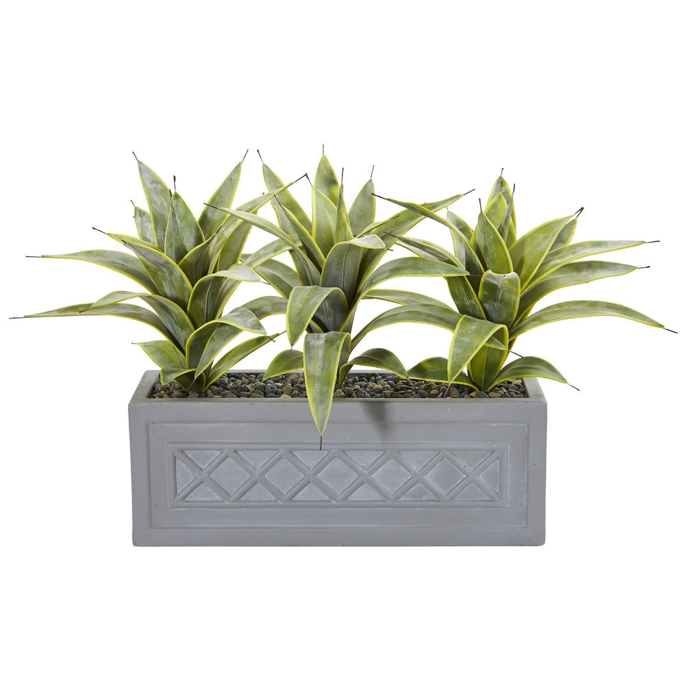 Sansevieria Artificial Plant In Stone Planter Nearly Natural